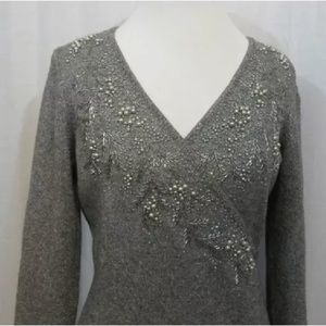 Ann Taylor beaded sweater gray
